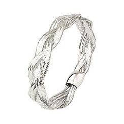 Aurium - Flexi 9 carat 3 row white gold mesh braided bangle