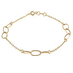 Aurium - 9 carat yellow open link and curb gold bracelet