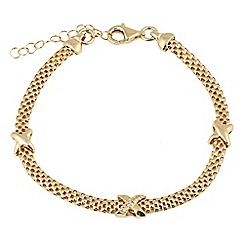 Aurium - Harlequin sterling silver yellow gold plated cz set 20 inch necklet