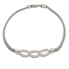 Aurium - Harlequin sterling silver stone set 3 ovals bracelet