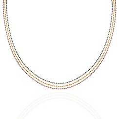 Aurium - Harlequin sterling silver 3 row multi colour 20 inch necklet