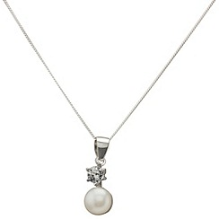 Aurium - Marco Polo sterling silver 7.0 -7.5 mm white freshwater pearl pendant on chain