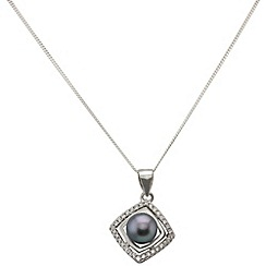 Aurium - Marco Polo sterling silver 6.5 -7.0 mm grey freshwater pearl pendant on chain
