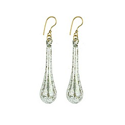 Murano 1291 - Teardrop Murano glass earrings on sterling silver gold plated fittings