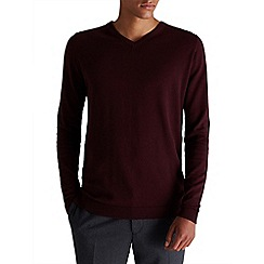 Jack & Jones - Burgundy 'Lucas' v-neck jumper