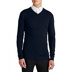 Jack & Jones - Navy 'Lucas' v-neck jumper