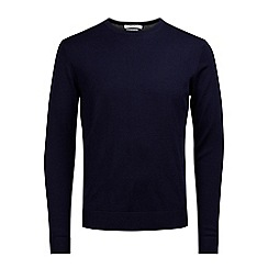 Jack & Jones - Navy 'Mark' merino wool crew neck jumper
