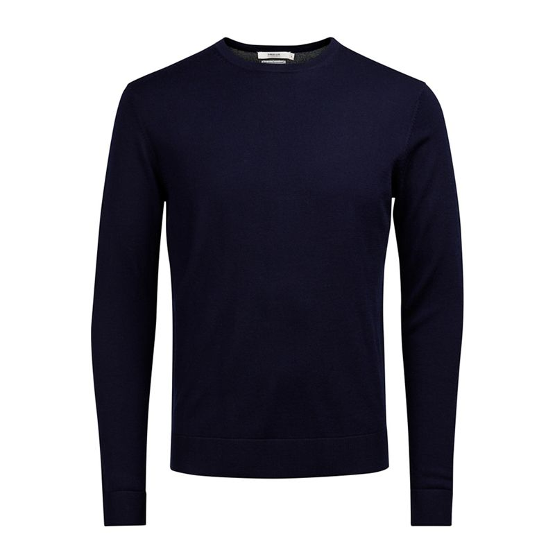 Jack and Jones Navy Mark merino wool crew neck jumper