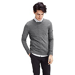 Jack & Jones - Grey 'Mark' merino wool crew neck jumper