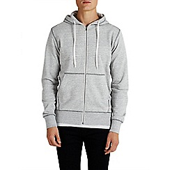 Jack & Jones - Light grey zip up 'Storm' sweat hood top