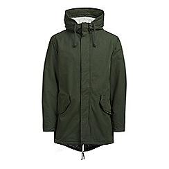 Jack & Jones - Dark green fishtail 'Bento' hooded parka jacket