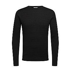 Jack & Jones - Black crew neck 'Carl' knit