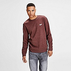 Jack & Jones - Burgundy 'Nepped' crew neck sweatshirt