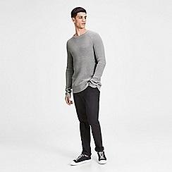 Jack & Jones - Grey 'Pannel' knit jumper
