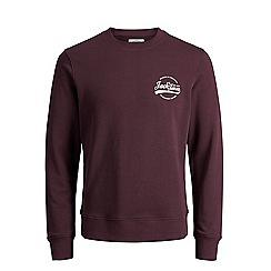 Jack & Jones - Burgundy 'Raf' crew neck sweatshirt