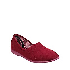 Great British Slippers - Red 'Audrey' velour womens slipper