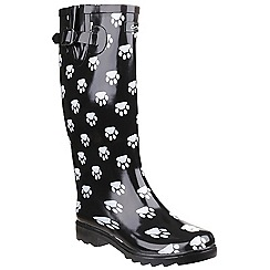 Cotswold - Black & white 'Dog paw'' wellingtons