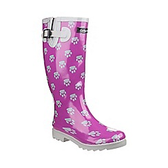 Cotswold - Purple and silver 'Dog Paw'' wellingtons
