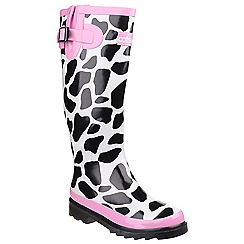 Cotswold - Black, white & pink 'Moo' wellington boots