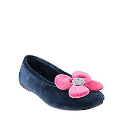 Cotswold - Navy 'Leafield' womens slippers