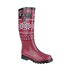 Cotswold - Red 'Fairisle' wellington boots