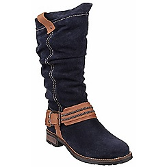 Riva - Navy 'Ellipse' suede contrast calf high boots