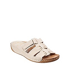 Divaz - Beige 'Amusa' slip on sandals