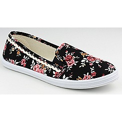 Divaz - Black floral 'Swift' printed plimsolls