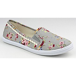 Divaz - Grey floral 'Swift' printed plimsolls