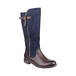 Divaz - Navy 'Bari' calf high boots