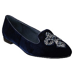 Riva - Navy 'Sassari Velvet' slip on shoes