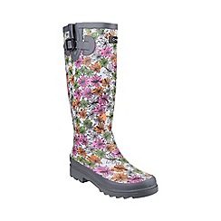 Cotswold - Grey 'Flower Power' wellington boots