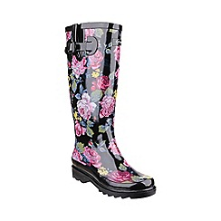 Cotswold - Black 'Rosefest' wellington boots