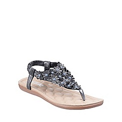 Divaz - Charcoal 'Britney' patterned sandals