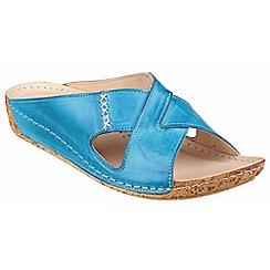 Riva - Cobalt leather 'Agata' mule sandal