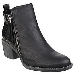 Divaz - Black 'Dench' zip up ankle boot