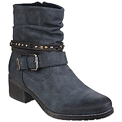 Divaz - Navy 'West' ankle boot with buckle
