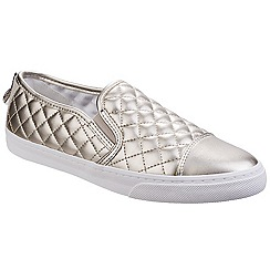 Geox - Light gold 'N. Club' quilted leather slip on shoes