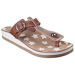Fantasy - Brown leather 'Naxos' t-bar sandals