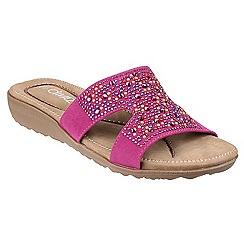 Divaz - Bright pink 'Kiti' mid heel wedge mules