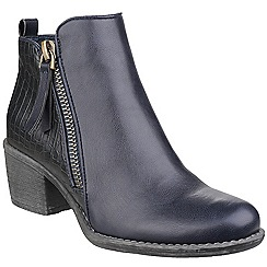 Divaz - Navy 'Dench' mid heel ankle boots