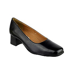 Amblers - Black leather 'Walford' mid heel block heel court shoes