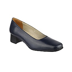 Amblers - Navy leather 'Walford' mid heel block heel court shoes
