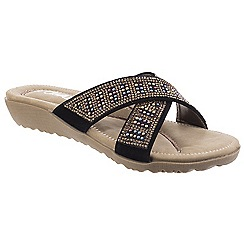 Divaz - Black 'Madonna' mid heel wedge mules