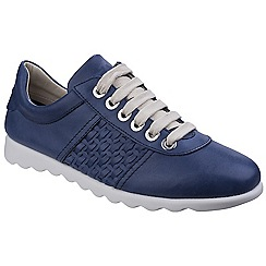 The Flexx - Blue leather 'Champy Diamante' lace up trainers