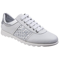 The Flexx - White leather 'Champy Diamante' lace up trainers