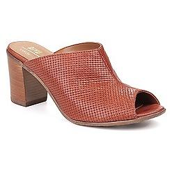 Riva - Tan leather 'Rocco' mid heel peep toe sandals