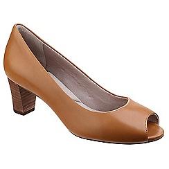 Rockport - Light brown leather 'Audrina' mid heel block heel peep toe shoes
