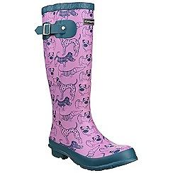 Cotswold - Pink 'WINDSOR PRINT' block heel calf boots