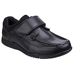Hush Puppies - Black leather 'Joey Velcro' school shoe